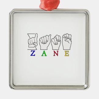 ZANE FINGERSPELLED NAME ASL SIGN Silver-Colored SQUARE DECORATION