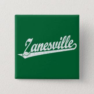 Zanesville script logo in white distressed 15 cm square badge