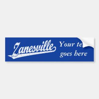 Zanesville script logo in white distressed car bumper sticker