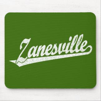 Zanesville script logo in white distressed mousepads