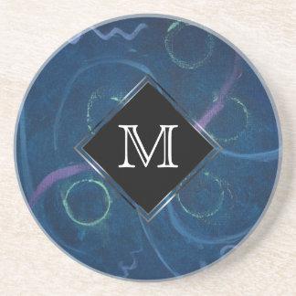 Zany Bar | Monogram Blue Pastel Fun Chalk Scribble Coaster