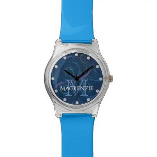Zany Bling   Name Pastel Chalk Fun Blue Scribble Watch