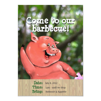 Zany pig roast summer barbecue custom template 13 cm x 18 cm invitation card