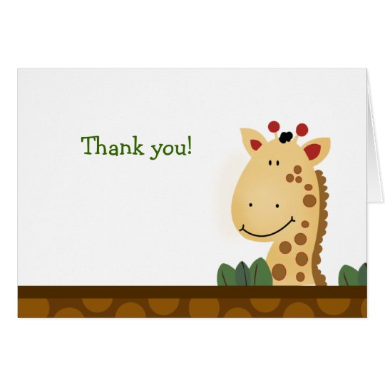 Zanzibar GIRAFFE Birthday Folded Thank you note Card