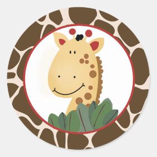 Zanzibar Giraffe Envelope Seals / Cupcake Toppers Round Sticker