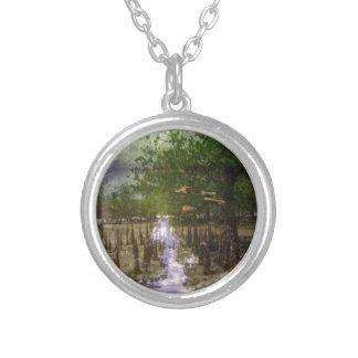 Zanzibar island beaches trees exotic landscape round pendant necklace