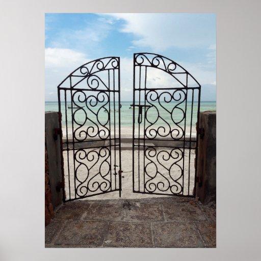 Zanzibar ocean sea shore gate dreamy entrance poster