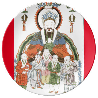 Zao Jun Chinese kitchen god porcelain plate