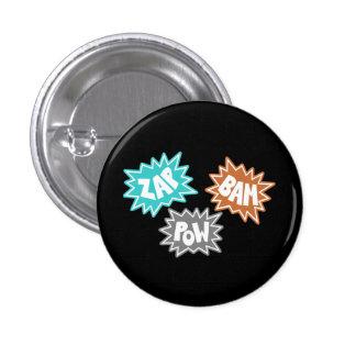 ZAP BAM POW Comic Sound FX - Orange 3 Cm Round Badge