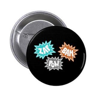 ZAP BAM POW Comic Sound FX - Orange 6 Cm Round Badge