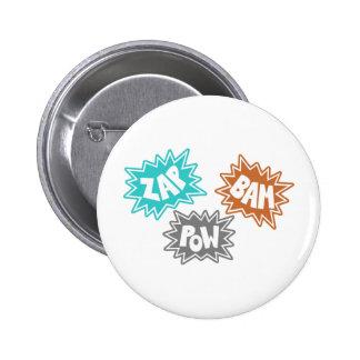 ZAP BAM POW Comic Sound FX - Orange Pin