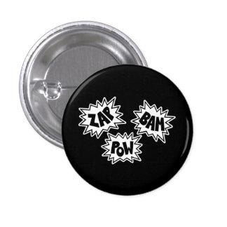 ZAP BAM POW Comic Sound FX - White Pinback Buttons