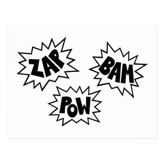 ZAP BAM POW Comic Sound FX - White Postcard