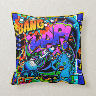 Zap Blue Alien Throw Pillow