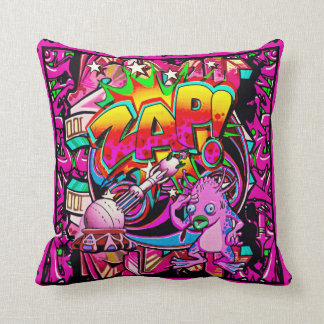 Zap Pink Alien throw pillow