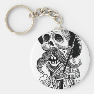 Zapatista  Calavera. c. early 1900's. Mexico. Basic Round Button Key Ring