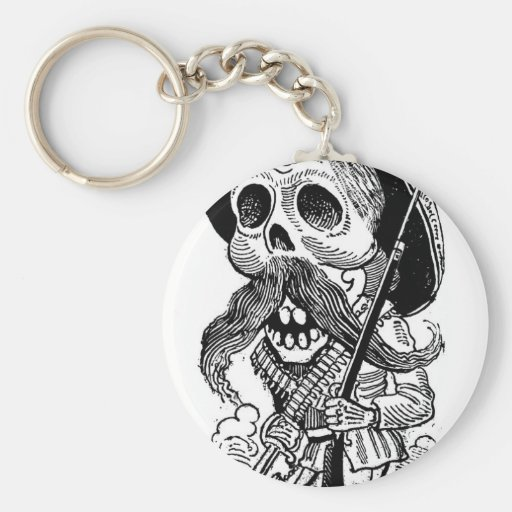 Zapatista  Calavera. c. early 1900's. Mexico. Key Chains