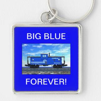 ZAZ420 Blue Caboose Silver-Colored Square Key Ring