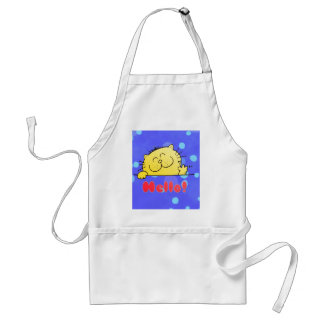 zazzle color-Blue Kitty Aprons