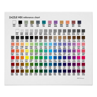 ZAZZLE COLORS | a hex codes reference chart Poster