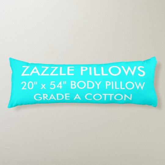 Zazzle Custom AQUA BLUE Grade A Cotton Body Pillow