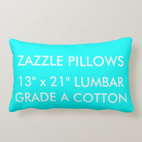 Zazzle Custom AQUA Cotton Lumbar Pillow Template