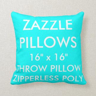 Zazzle Custom AQUA Zipperless Poly Throw Pillow