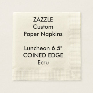 Zazzle Custom Coined Edge Luncheon Paper Napkins Disposable Napkin