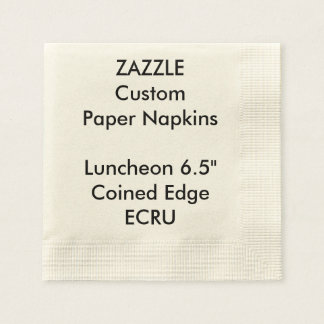 Zazzle Custom ECRU Coined Luncheon Paper Napkins Disposable Serviette