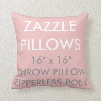 Zazzle Custom PINK Zipperless Poly Throw Pillow