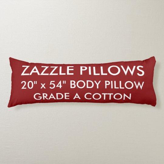 Zazzle Custom RICH RED Grade A Cotton Body Pillow