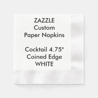 Zazzle Custom WHITE Coined Cocktail Paper Napkins Disposable Napkin