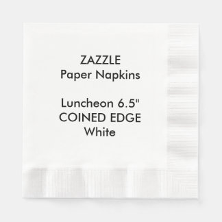 ZAZZLE Custom WHITE Coined Luncheon Paper Napkins