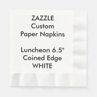 Zazzle Custom WHITE Coined Luncheon Paper Napkins Disposable Serviette