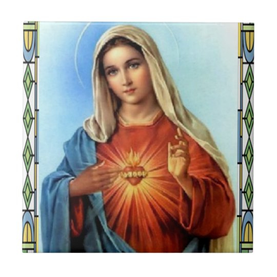 ZAZZLE SACRED HEART OF MARY 01 CUSTOMIZABLE PRODUC SMALL SQUARE TILE