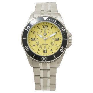 Zazzle Yellow face Men's Stainless Steel Watch