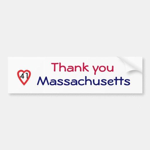 ZD- Thank you Mass sticker Bumper Stickers