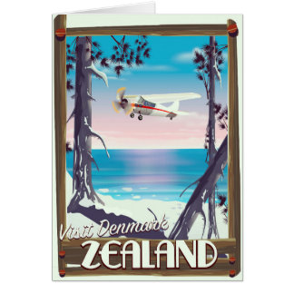 Zealand Denmark travel poster Card
