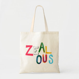 Zealous passionate committed resolved fun art word budget tote bag