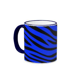 Zebbra Stripes Blue Ringer Mug