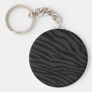 Zebbra Stripes Flat Black Keychains