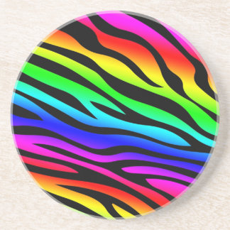 Zebbra Stripes Rainbow Coaster