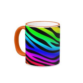 Zebbra Stripes Rainbow Ringer Mug
