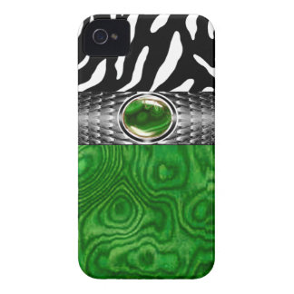 Zebra and Burl Wood with Jewel Accent (emerald) Case-Mate iPhone 4 Case