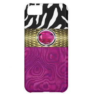 Zebra and Burl Wood with Jewel Accent (fuschia) iPhone 5C Cover