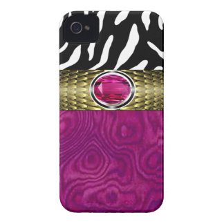 Zebra and Burl Wood with Jewel Accent (fuschia) iPhone 4 Cover