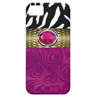 Zebra and Burl Wood with Jewel Accent (fuschia) iPhone 5 Cover