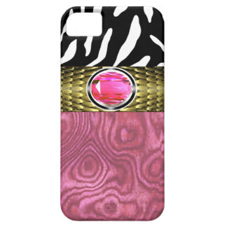 Zebra and Burl Wood with Jewel Accent (pink/gold) iPhone 5 Cover