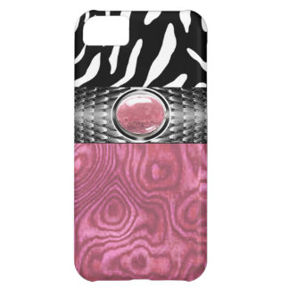 Zebra and Burl Wood with Jewel Accent pink/silver iPhone 5C Case