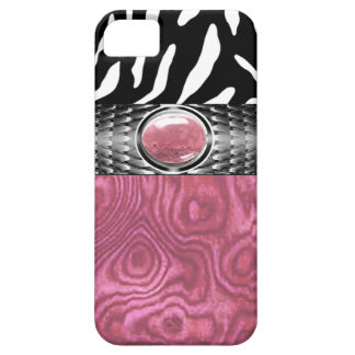 Zebra and Burl Wood with Jewel Accent pink/silver iPhone 5 Covers